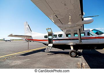 停車處, 在, the, 機場, 很少, 流行, 飛機