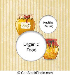 健全である, 食物, 挨拶, デザイン, あなたの, カード