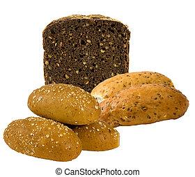 健全である, bread, 上に, a, 白, backgrou