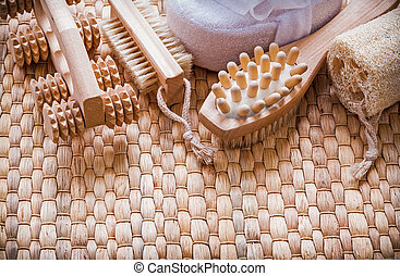 健康なライフスタイル, セット, 上に, 枝編み細工, マット, サウナ, 概念