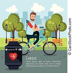 健康なライフスタイル, 人, 自転車, アイコン