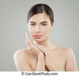 健康な女性, 若い, かなり, 皮膚