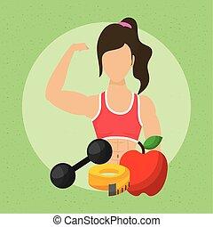 健康な女性, 運動選手, アイコン, 若い