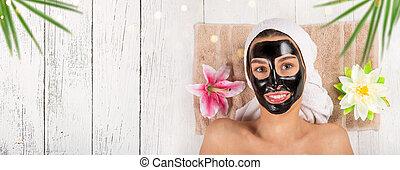 健康な女性, mask., 若い, 顔