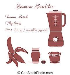 健康な 食べること, バナナ, habits., smoothie.