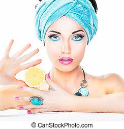 健康な 食べること, 健康, care., nutrition., 美しさ, 女, レモン