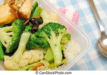 健康に良い昼食, 野菜, パックされた