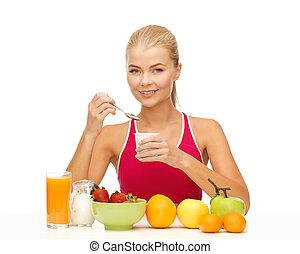 健康に良い朝食, 女性の 食べること, 若い