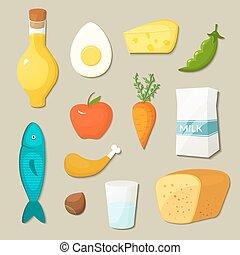 健康に良い食物, ベクトル, セット, アイコン