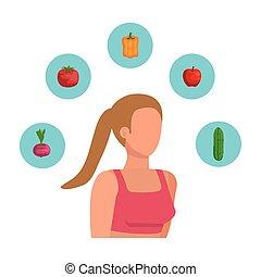 健康に良い食物, 女, スポーツ, 若い