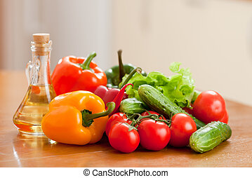 健康に良い食物, 新鮮な野菜, 中に, 上に, 木製である, テーブル。, 浅い, 深さ