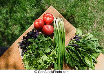 健康に良い食物, 野菜, テーブル, 新たに
