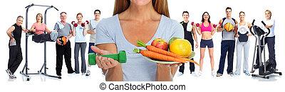 健康的婦女, 由于, 蔬菜, 以及, fruits.