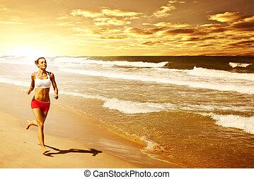健康的婦女, 跑, 在海灘上