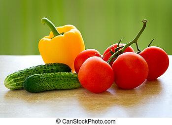 健康的食物, 新鮮, vegetables., 桌子