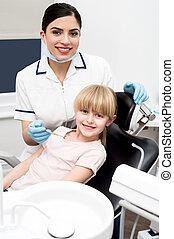 健康診断, わずかしか, 年報, 歯医者の, 女の子