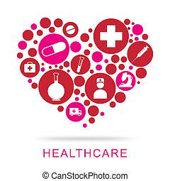 健康護理, 圖象, 顯示, 預防性的藥, 以及, 醫生