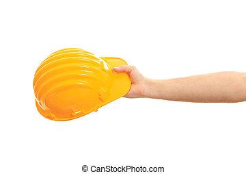 健康, そして, safety., 手の 保有物, a, 堅い 帽子, 白, 背景