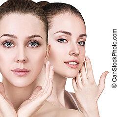 健康, ゆとり, 若い, skin., cwo, 女性