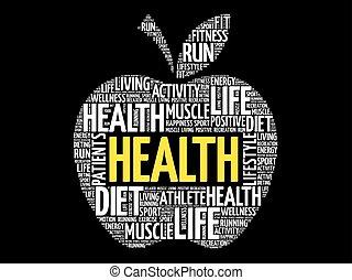 健康, アップル, 単語, 雲