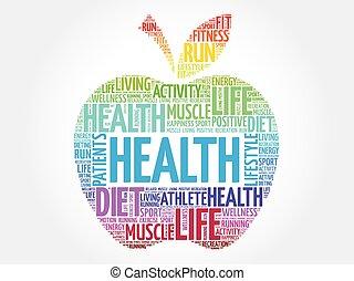 健康, カラフルである, 単語, アップル, 雲