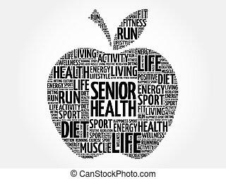健康, シニア, 単語, アップル, 雲
