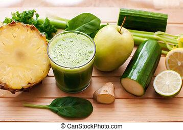 健康, ジュース, detox, 緑