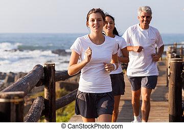 健康, ジョッギング, 浜, 家族
