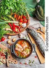 健康, スープ, 野菜, 作られた, 新たに