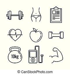 健康, セット, ライフスタイル, アイコン