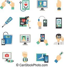 健康, デジタル, アイコン, セット, 平ら