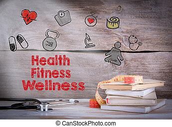 健康, フィットネス, wellness., 本の積み重ね, そして, a, 聴診器, 上に, a, 木製である, 背景