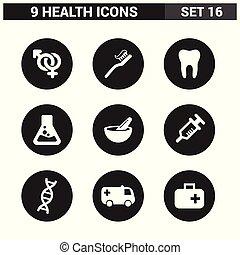 健康, ベクトル, セット, アイコン
