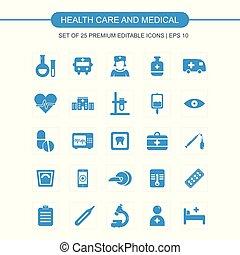 健康, ベクトル, セット, 心配, アイコン