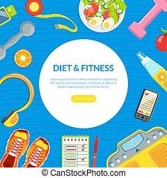 健康, ホームページ, フィットネス, 食事, 食べること, モビール, ページ, app, テンプレート, 平ら...
