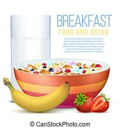 健康, ボール, ガラス, 薄片, 成果, 朝食, ミルク