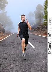健康, ランナー, 動くこと, 試し, 人