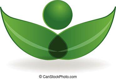 健康, ロゴ, シンボル, 緑, leafs