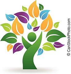 健康, ロゴ, 木, 人々