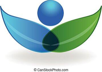 健康, ロゴ, 植物, 緑
