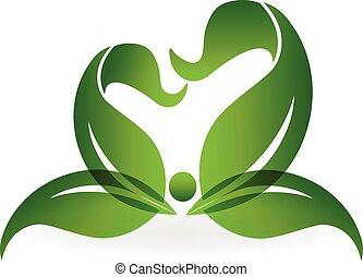 健康, ロゴ, 生活, 緑