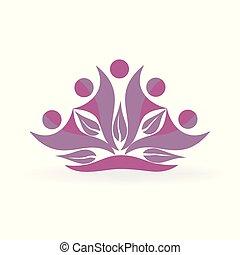 健康, ロゴ, leafs, 人々