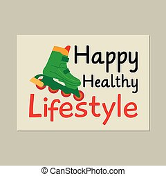 健康, ローラー, ライフスタイル, カード