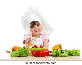 健康, 上に, シェフ, 食物, 準備, 背景, 女の子, 白