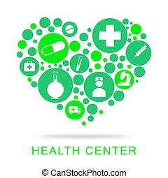 健康, 中心, 意味著, 預防性的藥, 以及, 關心