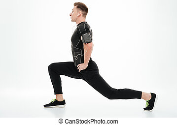 健康, 伸張, 若い, スポーツマン, 足, サイド光景