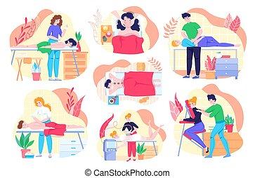 健康, 健康, リラックス, illustrations., エステ, 人々, 美しさ, ベクトル, マッサージ, ライフスタイル, 療法, セット, プロシージャ, 心配, 体, 特徴