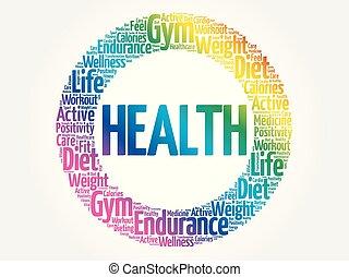 健康, 円, 雲, 単語, フィットネス