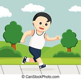 健康, 動くこと, 公園, 太った男