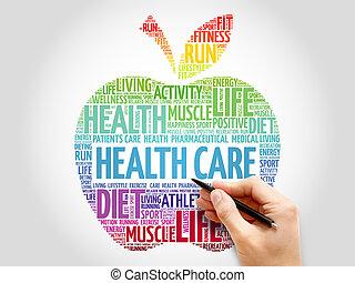 健康, 単語, アップル, 雲, 心配